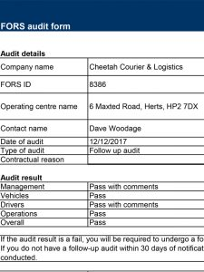 FORS Audit Summary
